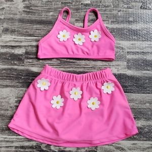 BRIGHT PINK TWO-PIECE SWIMSUIT, SIZE 24 MONTHS